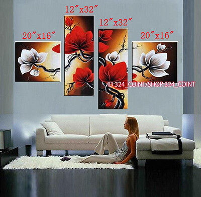 4pcs Hand painted Oil Canvas Wall Art home Decor abstract flowers NO Frame H653