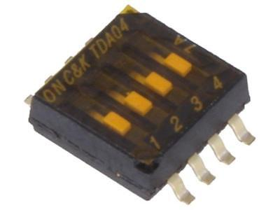 TDA04H0SB1 Switch DIP-SWITCH Poles number4 OFF-ON 0.025A/24VDC 100MΩ