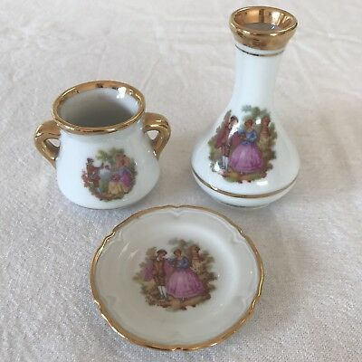 LOT of 3 LIMOGES GOUDEVILLE Porcelain Miniatures FRAGONARD Plate Vase Urn FRANCE