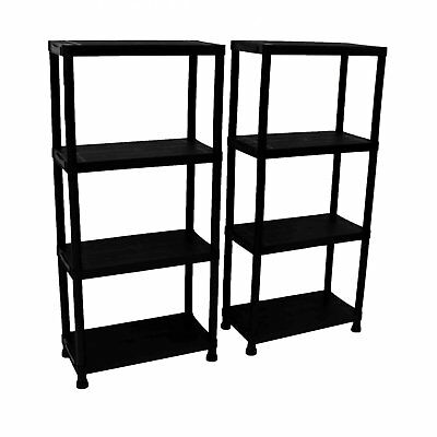 NEW! 2x 4 Tier Black Plastic Heavy Duty Shelving Racking Storage Unit