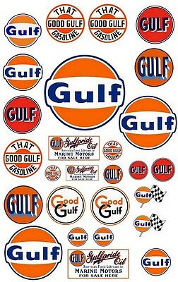 Stickers autocollants GULF OIL logos for Dioramas scale Garage miniature slot RC
