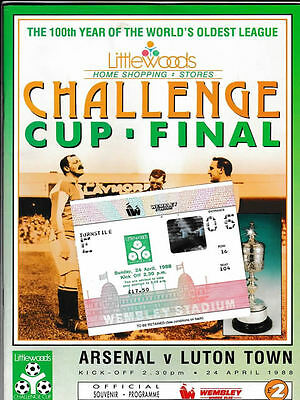ORIGINAL 1988 League Cup Final Programme & Ticket - Arsenal vs Luton Town