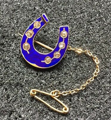 Antique Victorian 9k 9ct Gold Old Cut Diamond Cobalt Blue Enamel Lace Brooch Pin