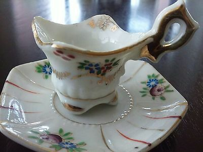 Vintage Mini floral  tea cup and saucer Japan hand painted