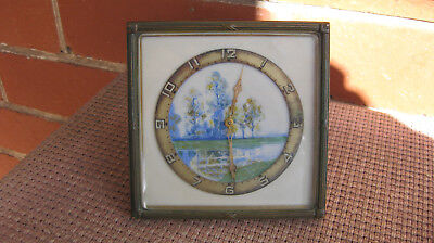 Fine Art Deco Bedside Clock Hand Painted Dial C1930
