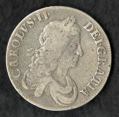 1667 Charles II Silver Crown Second Bust, An . Reg . Decimo . Nono