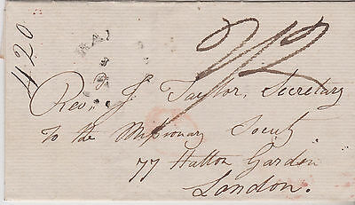 1822 Canada Montreal Transatlantic Stampless Letter To London Missionary Society