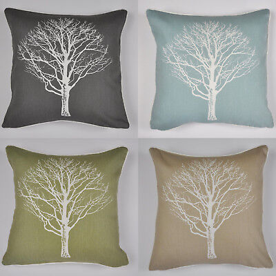 "Woodland Trees Cushion Cover 17"" x 17"" (43cm x 43cm) Printed Double Sided Forest"
