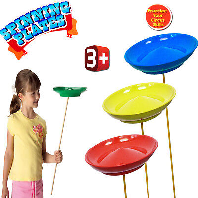 Kids Circus Set Of 3 Spinning Plates Magic Tricks Beginner Skill Party Toy Xmas