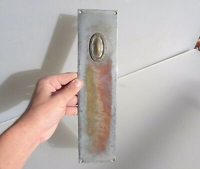 Antique Chromed Brass Finger Plate Push Door Handle Vintage Old Reeded French