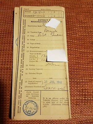 Original BSA sunbeam motorcycle scooter log book