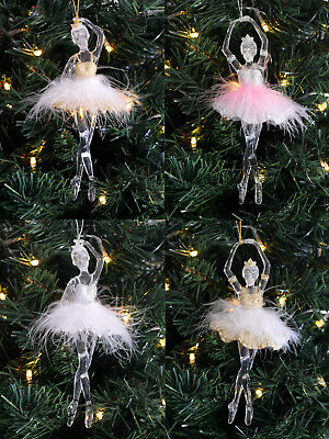 Gisela Graham Ballerina Fairy Christmas Tree Decoration Hanging Pink Acrylic