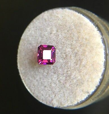 NATURAL 1.09ct Rare Malawi Rhodolite Garnet Neon Purple Pink Emerald Cut Gem