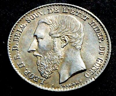 1887 BELGIUM Congo (Free State), Leopold II. Silver 50 Centimes (½ Franc) COIN