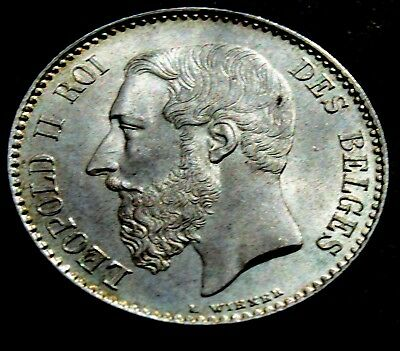 1886 BELGIUM SILVER 1 Franc Belgian King LEOPOLD II Coat of arms high grade coin