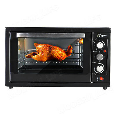 45L Mini Oven Black Rotisserie Table Top Cooker Grill Bake Kitchen Convection UK