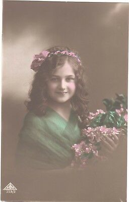 Vintage Postcard Child Little Girl Flowers Hat Colour Tinted Marcus Day Rp