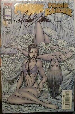 Witchblade Tomb Raider #1 Bedroom cover signed by Michael Turner