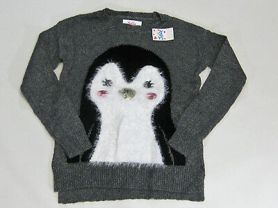 NWT Justice Kids Girls Size 6 8 10 or 12 Gray Penguin Fuzzy Sweater Tunic Top