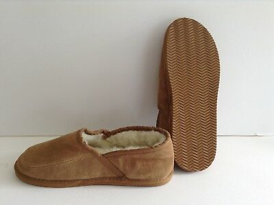 Gents Genuine Lambs Wool Lined Suede Slippers (With Sole) - Beige  (Size 8)