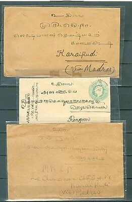 Burma India three covers with stamp or stationery 1907-1925