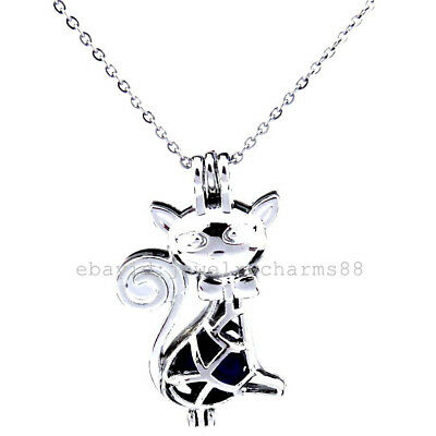K362 Silver Pearl Beads Cage Animal Bow Knot Lady Cat Stainless Steel Necklace