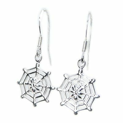 Spider on web sterling silver hook earrings .925 x 1 pair CI300015--HOOKS