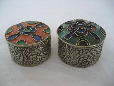 Pair Of Silver And Enamel Trinket Boxes.
