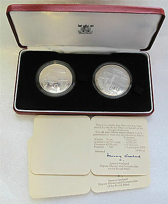 SEYCHELLES fish bird conservation 2 coin set silver 50-100 rupees 1978 Proof box