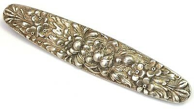 Antique Bar Pin Brooch Sterling Silver Steiff Repousse Metal Flower Jewelry