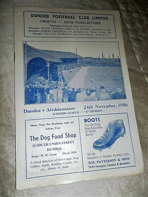 1956/7 Dundee V Airdrie Airdrieonians Scottish League