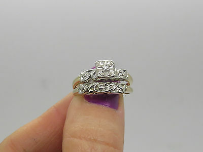 VINTAGE 14k White Yellow Gold Round Diamond CHIP Engagement Ring Wedding Band 6