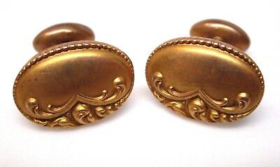Vintage DECO Gold Cuff Links NO MONOGRAM Near Mint
