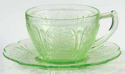 Jeannette Glass CHERRY BLOSSOM GREEN Cup & Saucer 963171