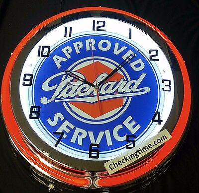 "Packard Approved Service 19"" Double Neon Clock Choice of Red or Blue Neon"