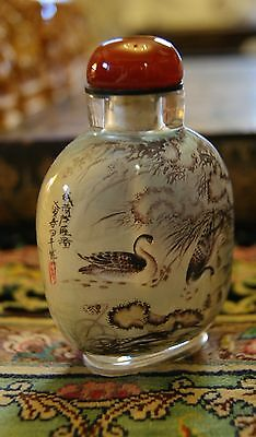 Signed Reverse Painted Chinese Snuff Bottle Geese