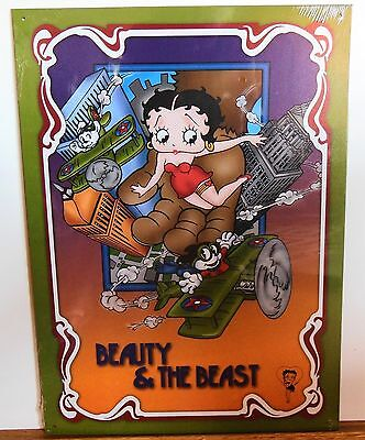 "Betty Boop ""beauty And The Beast"" Tin Metal Sign - Vintage Style - New"