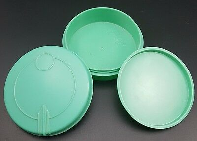 Gorgeous Art Deco Lidded Powder Pot By Barton in Green Plastic, Poss Bakelite?