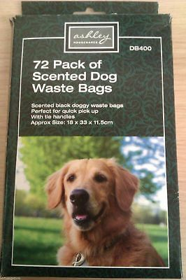 New DISPOSAL BAGS DOG WASTE 72 x ONE PACK BLACK SCENTED 18 X 33 X 11.5CMS