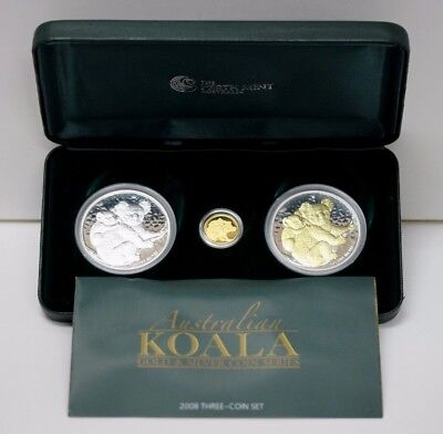 2008 Australia 3 Coins Set Gold & Silver Koala  In Origenal Box Proof #01341397h