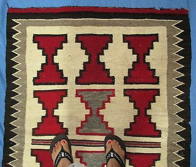 Awesome Navajo Indian Rug Diamonds Red Black White Gray Some Damage MAKE OFFER
