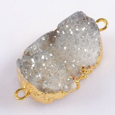 Uneven Natural Agate Titanium Druzy Connector Gold Plated H93343