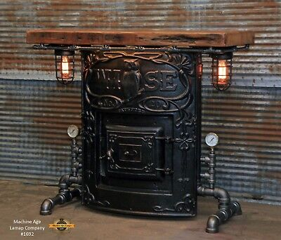 Steampunk Industrial Machine Age Steam Gauge Table Stand Bar Console Wise