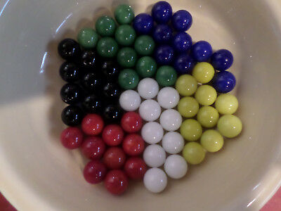 Loose Lot of 60 Vintage Chinese Checkers Marbles Solid Colors