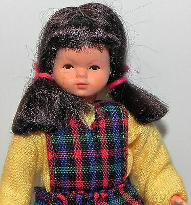 Dollhouse Miniature Doll Sister Brunette Plaid Outfit Caco Dollhouse Shoppe