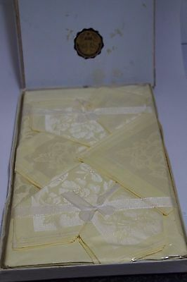 Vintage Damask Yellow Tablecloth and napkins  UNUSED