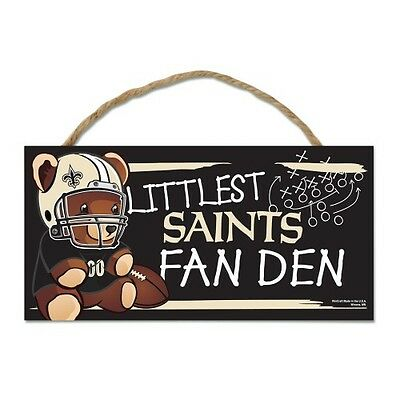 "New Orleans Saints Littlest Fan 5""x10"" Fan Cave Wood Sign Authentic Wall Decor"