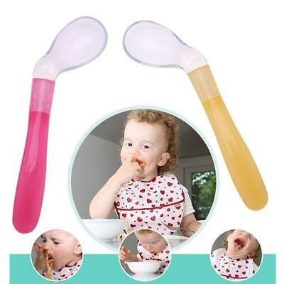 Infant Baby Kids Soft Silicone Rice Feeding Spoon Cereal Food Feeder Flatware