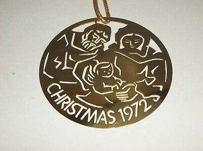 Vintage CHRISTMAS 1972 GOLD Brass Metal Ornament HOLY FAMILY