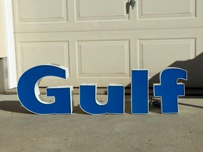 GULF-Vintage 1970's-80's Lighted Letters Letters LED GULF OIL Co